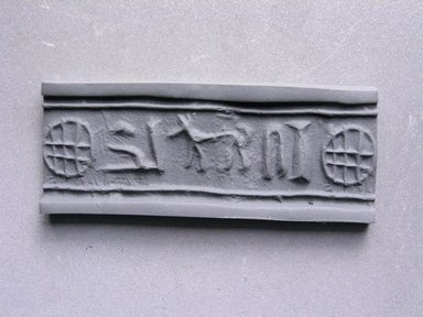 Cylinder Seal. Steatite, 1/2 x 1/2 in. (1.2 x 1.2 cm). Brooklyn Museum, Charles Edwin Wilbour Fund, 44.123.15. Creative Commons-BY