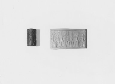 Ancient Near Eastern. Cylinder Seal: Three Combat Groups, 2300 B.C.E. Serpentine, 1 x Diam. 9/16 in. (2.5 x 1.5 cm). Brooklyn Museum, Charles Edwin Wilbour Fund, 44.123.177. Creative Commons-BY