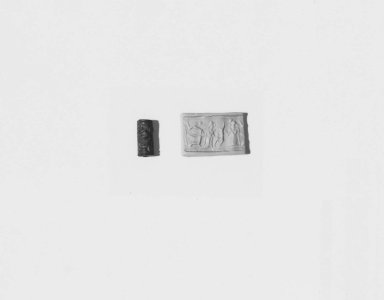 Ancient Near Eastern. Cylinder Seal, late 15th century B.C.E. Faience, glazed, 5/8 x Diam. 1/4 in. (1.6 x 0.7 cm). Brooklyn Museum, Charles Edwin Wilbour Fund, 44.123.181. Creative Commons-BY