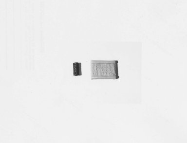 Ancient Near Eastern. Cylinder Seal, 18th century B.C.E. Hematite, 11/16 x Diam. 1/4 in. (1.7 x 0.6 cm). Brooklyn Museum, Charles Edwin Wilbour Fund, 44.123.182. Creative Commons-BY