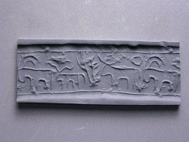 Cylinder Seal. Steatite, 13/16 x 5/8 in. (2.1 x 1.6 cm). Brooklyn Museum, Charles Edwin Wilbour Fund, 44.123.2. Creative Commons-BY