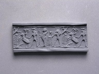Cylinder Seal. Steatite, glazed, 5/8 x 3/8 in. (1.6 x 0.9 cm). Brooklyn Museum, Charles Edwin Wilbour Fund, 44.123.42. Creative Commons-BY