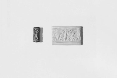 Ancient Near Eastern. Cylinder Seal, ca. 15th-12th century B.C.E. Steatite, glazed, 13/16 x Diam. 3/8 in. (2.1 x 1 cm). Brooklyn Museum, Charles Edwin Wilbour Fund, 44.123.45. Creative Commons-BY