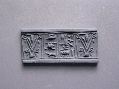 Cylinder Seal. Faience, glazed, 11/16 x 5/16 in. (1.7 x 0.8 cm). Brooklyn Museum, Charles Edwin Wilbour Fund, 44.123.47. Creative Commons-BY