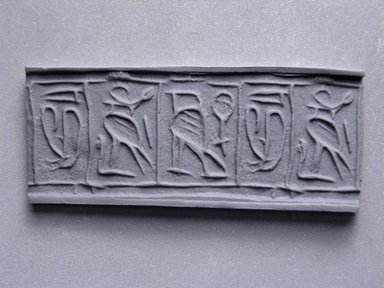 Cylinder Seal. Steatite, glazed, 3/4 x 3/8 in. (1.9 x 0.9 cm). Brooklyn Museum, Charles Edwin Wilbour Fund, 44.123.48. Creative Commons-BY