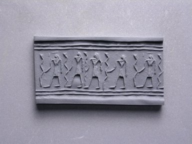 Cylinder Seal. Frit, 13/16 x 3/8 in. (2 x 1 cm). Brooklyn Museum, Charles Edwin Wilbour Fund, 44.123.50. Creative Commons-BY