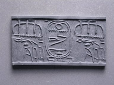 Cylinder Seal. Faience, glazed, 1 x 3/8 in. (2.6 x 1 cm). Brooklyn Museum, Charles Edwin Wilbour Fund, 44.123.67. Creative Commons-BY