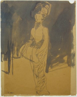 Carl Sprinchorn (American, 1887-1971). Standing Woman with Muff, 1911. Ink wash on wove paper, Sheet: 10 x 7 15/16 in. (25.4 x 20.2 cm). Brooklyn Museum, Gift of Ettie Stettheimer, 45.117