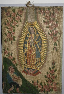 Mexican. Nuestra Senora de Guadelupe (Our Lady of Guadalupe), 19th century. Oil and gold leaf on canvas, 6 7/8 x 4 3/4 in. (17.5 x 12.1 cm). Brooklyn Museum, Henry L. Batterman Fund, 45.128.11