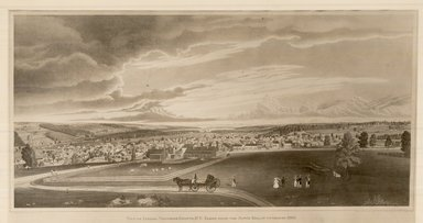 Henry Walton (American, 1820-1873). East View of Ithaca, 1837. Lithograph, semi hand coloring on wove paper, 11 3/4 x 25 5/8 in. (29.9 x 65.1 cm). Brooklyn Museum, Dick S. Ramsay Fund, 45.144