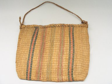 Ottawa (Native American). Bag with Braided Top and Handle. Basswood fiber, 14 x 17 15/16 in.  (35.5 x 45.5 cm). Brooklyn Museum, By exchange, 46.100.22. Creative Commons-BY