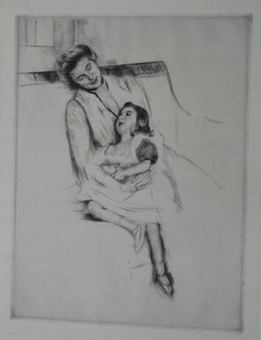 Mary Cassatt (American, 1844-1926). Jeanette and Her Mother on the Sofa, ca. 1902. Drypoint on laid paper, Sheet: 19 3/4 x 15 3/8 in. (50.2 x 39.1 cm). Brooklyn Museum, Bequest of Mary T. Cockcroft, 46.107