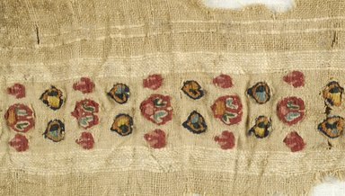 Coptic. Fragment of Border with Tapestry Woven Design, 7th century C.E. Linen, wool, 2 15/16 x 18 11/16 in. (7.5 x 47.5 cm). Brooklyn Museum, Gift of Pratt Institute, 46.157.16. Creative Commons-BY