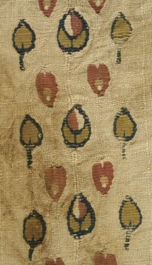 Coptic. Fragment of Textile with Tapestry Woven Ornaments, 7th century C.E. or later. Linen, wool, 9 1/4 x 18 1/8 in. (23.5 x 46 cm). Brooklyn Museum, Gift of Pratt Institute, 46.157.17. Creative Commons-BY