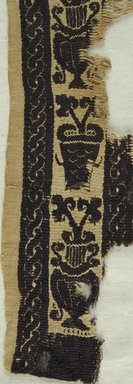 Coptic. Two Fragments of a Tapestry Border, 4th-5th century C.E. Linen, wool, 46.157.27a: 2 5/16 x 13 3/8 in. (5.8 x 34 cm). Brooklyn Museum, Gift of Pratt Institute, 46.157.27a-b. Creative Commons-BY