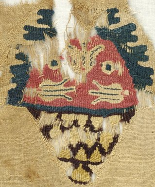 Coptic. Fragment of Cloth, 5th century C.E. (probably). Linen, wool, 8 11/16 x 9 5/8 in. (22 x 24.5 cm). Brooklyn Museum, Gift of Pratt Institute, 46.157.4. Creative Commons-BY