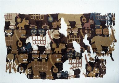 Tiwanaku. Textile Fragment with Birthing Llamas, 600-1000. Cotton, camelid fiber, 10 13/16 x 18 1/2 in. (27.5 x 47 cm). Brooklyn Museum, A. Augustus Healy Fund and Carll H. de Silver Fund, 46.46.2. Creative Commons-BY