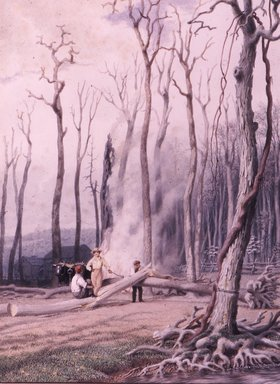 George Harvey (American, 1801-1878). Spring--Burning Fallen Trees, in a Girdled Clearing, Western Scene, ca. 1840. Watercolor over graphite on cream, medium weight, slightly textured wove paper, Sheet: 13 13/16 x 10 5/16 in. (35.1 x 26.2 cm). Brooklyn Museum, Dick S. Ramsay Fund, 46.49