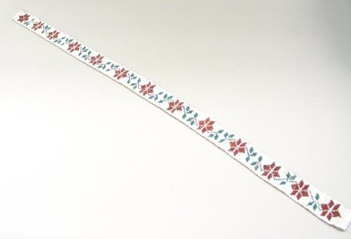 Hochunk (Native American). Lined Beaded Belt. Beads, gingham cloth, 77 x 3.5 cm / 30 1/4 x 1 3/8 in. Brooklyn Museum, Charles Stewart Smith Memorial Fund, 46.96.3. Creative Commons-BY