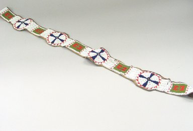 Iowa (Native American). Strip for Blanket. Beads, hide, 37 x 3 9/16 in.  (94.0 x 9.0 cm). Brooklyn Museum, Charles Stewart Smith Memorial Fund, 46.96.5. Creative Commons-BY
