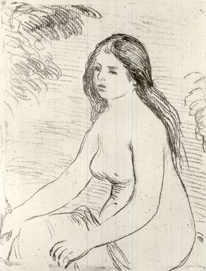 Pierre-Auguste Renoir (French, 1841-1919). Femme Nue Assise, 1906. Soft ground etching printed in sanguine on Japan paper, Plate: 7 3/8 x 5 7/8 in. (18.8 x 14.9 cm). Brooklyn Museum, Gift of John B. Turner, 47.137.3
