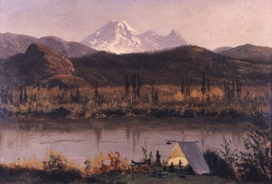 Albert Bierstadt (American, 1830-1902). Mt. Baker, Washington, From the Frazier River, 1890. Oil on paper mounted to canvas, 14 1/4 x 19 5/8 in. (36.2 x 49.8 cm). Brooklyn Museum, Dick S. Ramsay Fund, 47.196