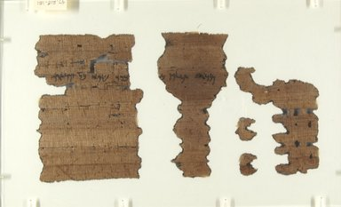 Aramaic. Incomplete Papyrus, Oct. 1, 399 B.C.E. Papyrus, ink, Glass: 8 x 13 in. (20.3 x 33 cm). Brooklyn Museum, Bequest of Theodora Wilbour from the collection of her father, Charles Edwin Wilbour, 47.218.151