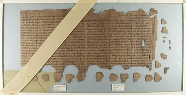 Papyrus: 'The Confirmation of Royal Power at the New Year', 6th - 4th century B.C.E. Papyrus, ink, a: Glass: 14 3/16 x 27 9/16 in. (36 x 70 cm). Brooklyn Museum, Bequest of Theodora Wilbour from the collection of her father, Charles Edwin Wilbour, 47.218.50a-c