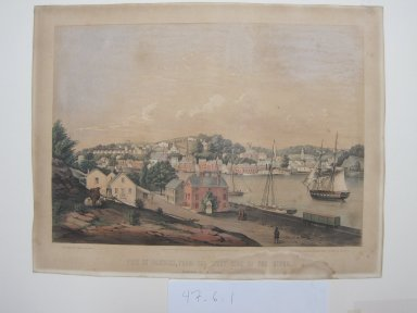 Fitz Henry Lane (American, 1804-1865). View of Norwich, from the West Side of the River, 1849. Color lithograph on wove paper, Sheet: 14 5/8 x 19 in. (37.1 x 48.3 cm). Brooklyn Museum, Dick S. Ramsay Fund, 47.6.1