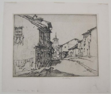 Ernest David Roth (American, 1879-1964). Street in Segovia, Spain, 1921. Etching on laid paper, Mat: 19 5/16 x 14 3/16 in. (49 x 36 cm). Brooklyn Museum, Gift of William Lybrand, 48.193.79