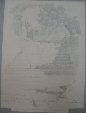 Edwin Howland Blashfield (American, 1848-1936). Erment, South of Luxor, Landing Stairs on Westbank, 1887. Graphite on paper mounted to paperboard, Sheet: 10 5/8 x 7 7/8 in. (27 x 20 cm). Brooklyn Museum, Gift of John H. Field, 48.217.11