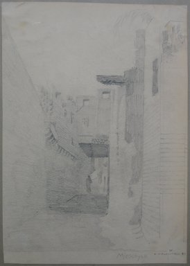 Edwin Howland Blashfield (American, 1848-1936). El Manshah, 1887. Graphite on paper mounted on paperboard, Sheet: 14 1/16 x 9 15/16 in. (35.7 x 25.2 cm). Brooklyn Museum, Gift of John H. Field, 48.217.14b