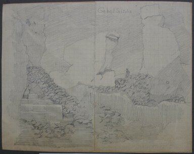 Edwin Howland Blashfield (American, 1848-1936). Gebel Silsila, n.d. Graphite on preprinted graph paper mounted to paper and then to paperboard, Sheet: 5 11/16 x 7 1/4 in. (14.4 x 18.4 cm). Brooklyn Museum, Gift of John H. Field, 48.217.15c