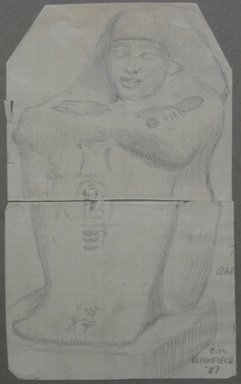 Edwin Howland Blashfield (American, 1848-1936). Block Statue of Dynasty XIX, 1887. Graphite on preprinted graph paper mounted to paperboard, Sheet: 6 1/16 x 3 11/16 in. (15.4 x 9.4 cm). Brooklyn Museum, Gift of John H. Field, 48.217.16c