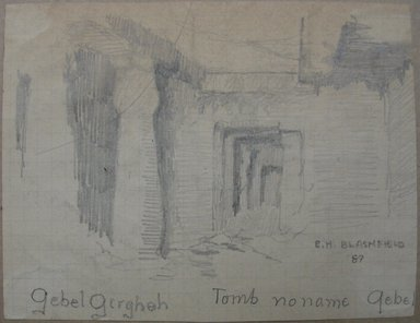 Edwin Howland Blashfield (American, 1848-1936). Tomb Opposite Girga, 1887. Graphite on preprinted graph paper mounted to paperboard, Sheet: 3 1/2 x 4 9/16 in. (8.9 x 11.6 cm). Brooklyn Museum, Gift of John H. Field, 48.217.17d