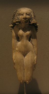 Fertility Statuette of a Woman, ca. 1938-1539 B.C.E. Limestone, painted, 4 5/8 x 1 7/8 in. (11.8 x 4.7 cm). Brooklyn Museum, Charles Edwin Wilbour Fund, 48.25. Creative Commons-BY