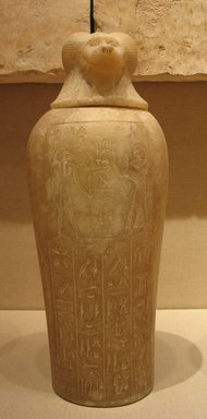 Canopic Jar with lid of the Royal Scribe and Chief Lector Priest, Thenry, ca. 1279-1213 B.C.E. Alabaster, 18 1/2 x Diam. 6 11/16 in. (47 x 17 cm). Brooklyn Museum, Charles Edwin Wilbour Fund, 48.30.3a-b. Creative Commons-BY