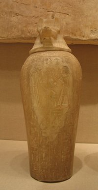 Canopic Jar with Lid of the Royal Scribe and Chief Lector Priest, Thenry, ca. 1279-1213 B.C.E. Alabaster, 18 1/2 x Diam. 6 11/16 in. (47 x 17 cm). Brooklyn Museum, Charles Edwin Wilbour Fund, 48.30.4a-b. Creative Commons-BY