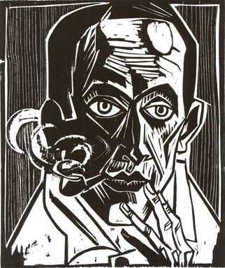 Max Pechstein (German, 1881-1955). Self-Portrait with Pipe (Selbstbildnis mit Pfeife), 1921. Woodcut on Japan paper, Image: 13 7/16 x 11 1/8 in. (34.1 x 28.3 cm). Brooklyn Museum, Caroline A.L. Pratt Fund, 49.102.4