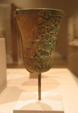 Fragmentary Body of Cup, ca. 1070 B.C.E.-718 B.C.E. Faience, glazed, Height: 3 7/8 in. (9.9 cm). Brooklyn Museum, Charles Edwin Wilbour Fund, 49.133. Creative Commons-BY