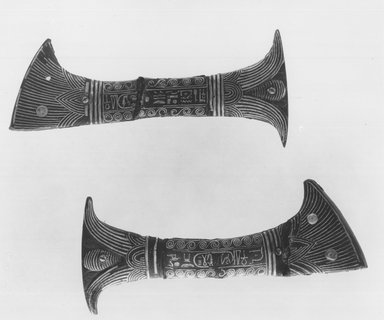 Two Halves of Handle of a Votive Knife, ca. 1294-1279 B.C.E. Bronze, inlaid with copper and gold, 2 1/16 x 4 13/16 in. (5.3 x 12.3 cm). Brooklyn Museum, Charles Edwin Wilbour Fund, 49.167a-b. Creative Commons-BY