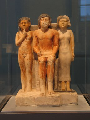 Statue of Nykara and his Family, ca. 2455-2350 B.C.E. Limestone, painted, 22 5/8 x 14 1/2 x 10 7/8 in. (57.5 x 36.8 x 27.7 cm). Brooklyn Museum, Charles Edwin Wilbour Fund, 49.215. Creative Commons-BY