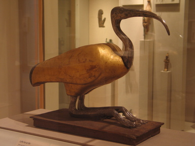 Ibis Coffin, 305-30 B.C.E. Wood, silver, gold, and rock crystal, animal remains, linen, 16 3/4 x 8 x 22 in. (42.5 x 20.3 x 55.9 cm). Brooklyn Museum, Charles Edwin Wilbour Fund, 49.48. Creative Commons-BY