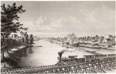 Louis Kurz (American, 1834-1921). Watertown, Wisconsin, from Milwaukee and Western Railroad Bridge, ca. 1857. Lithograph on wove paper, 14 3/16 x 22 1/8 in. (36 x 56.2 cm). Brooklyn Museum, Dick S. Ramsay Fund, 49.68