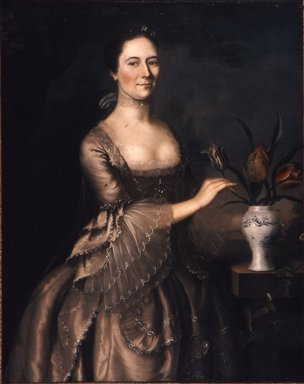 Joseph Blackburn (American, active ca. 1750-1780). Portrait of a Woman, ca. 1762. Oil on canvas, 44 x 35 13/16 in. (111.8 x 91 cm). Brooklyn Museum, Dick S. Ramsay Fund, 50.57