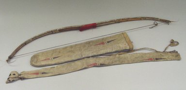 Probably Yankton, Nakota, Sioux (Native American). Bow, Bow Case, Arrows and Quiver, early 19th century. Elk horn, thread, horsehair, Stroud cloth, sinew, metal, pigment, buffalo hide, mallard scalps, remnants of feathers, bow: 4 1/2 x 1 1/2 x 44 in. (11.4 x 3.8 x 111.8 cm). Brooklyn Museum, Henry L. Batterman Fund and Frank Sherman Benson Fund, 50.67.27a-b. Creative Commons-BY