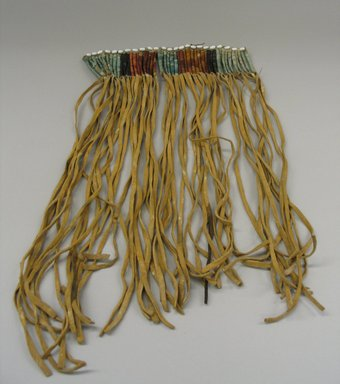 Sioux (Native American). Quilled Fringe, early 19th century. Buffalo hide, buckskin, porcupine quills, shell beads, 16 x 9 in. (40.6 x 22.9 cm). Brooklyn Museum, Henry L. Batterman Fund and the Frank Sherman Benson Fund, 50.67.34. Creative Commons-BY