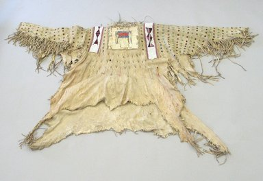 Blackfoot, Piegan (Native American). Chief's Dress Shirt, early 19th century. Hide, quills, hair, beads, pigment, cloth, cotton thread, 44 x 69 1/4 in. (111.8 x 175.9 cm). Brooklyn Museum, Henry L. Batterman Fund and Frank Sherman Benson Fund, 50.67.5a. Creative Commons-BY