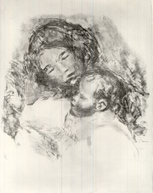 Pierre-Auguste Renoir (French, 1841-1919). Mother and Child, ca. 1912. Lithograph on laid Arches paper, 19 1/2 x 19 in. (49.5 x 48.3 cm). Brooklyn Museum, Anonymous gift, 51.128