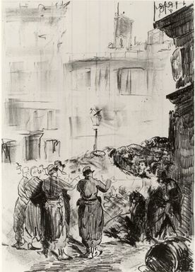 Édouard Manet (French, 1832-1883). The Barricade (La Barricade), 1871. Lithograph with scraping on chine collé paper, Chine: 18 11/16 x 13 7/16 in. (47.5 x 34.1 cm). Brooklyn Museum, Frederick Loeser Fund, 51.151.5
